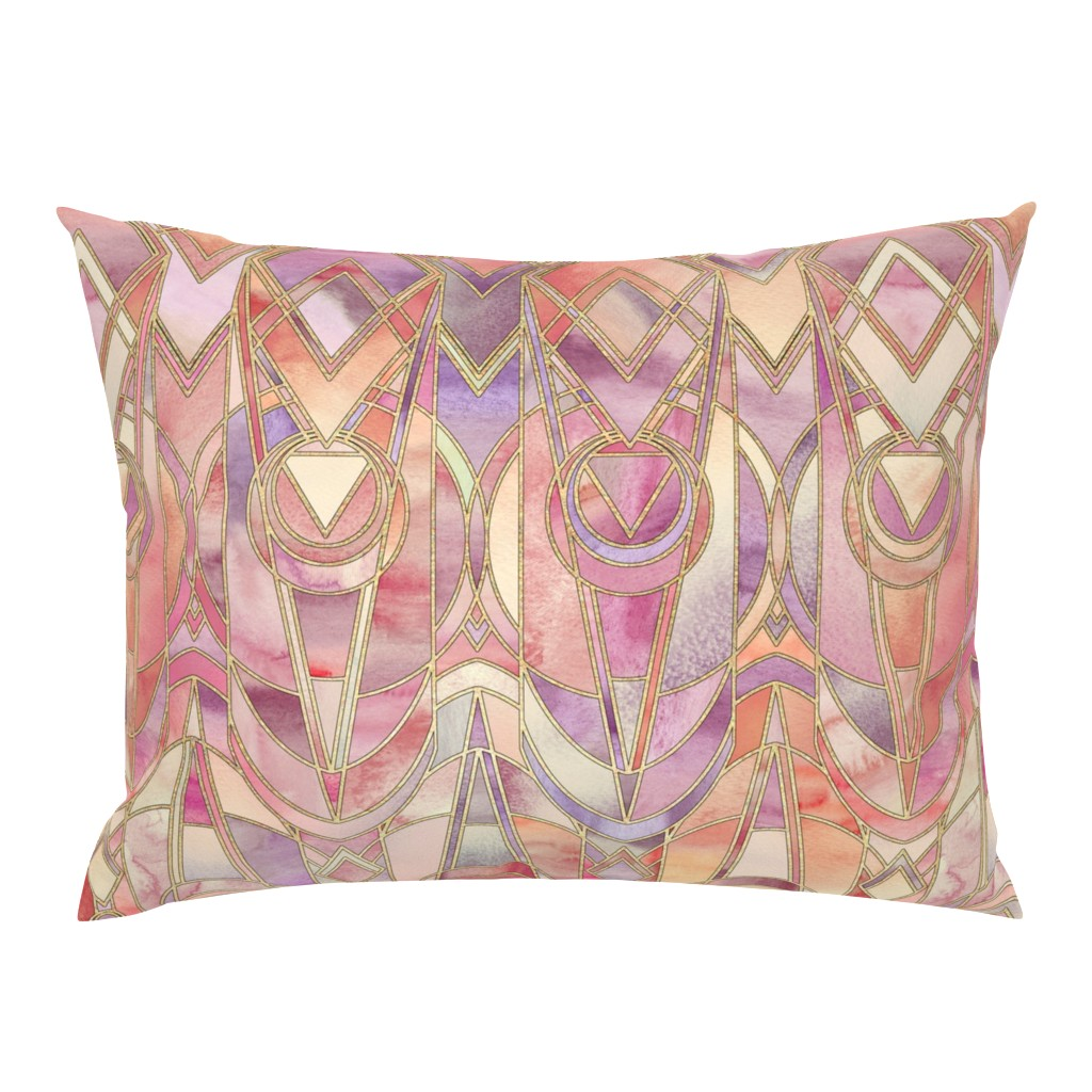Campine Pillow Sham featuring Glowing Coral and Amethyst Art Deco - large by micklyn