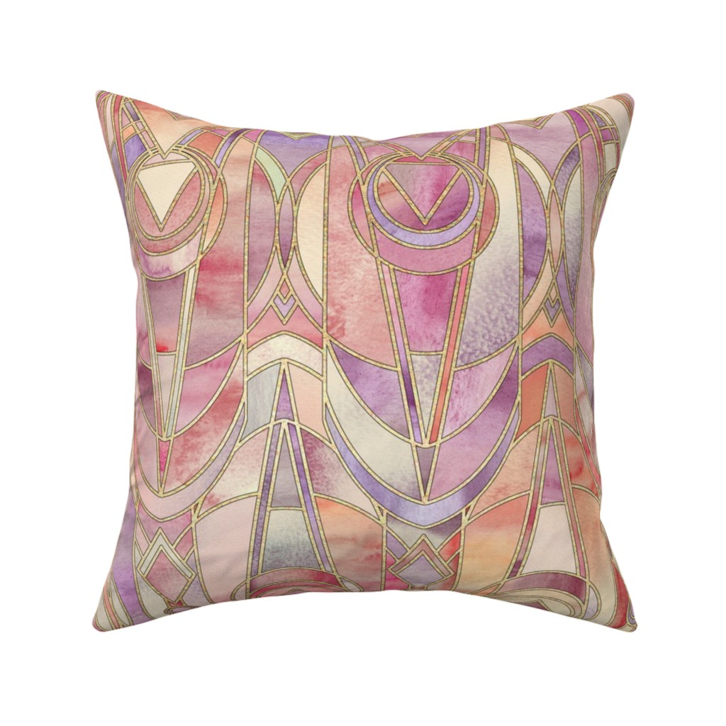 Catalan Throw Pillow featuring Glowing Coral and Amethyst Art Deco - large by micklyn
