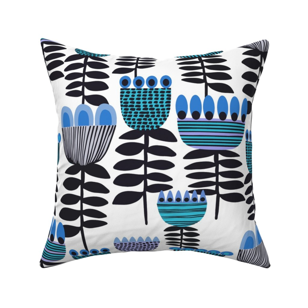 Catalan Throw Pillow featuring Blue Mid Century Tulips by kirstenkatz