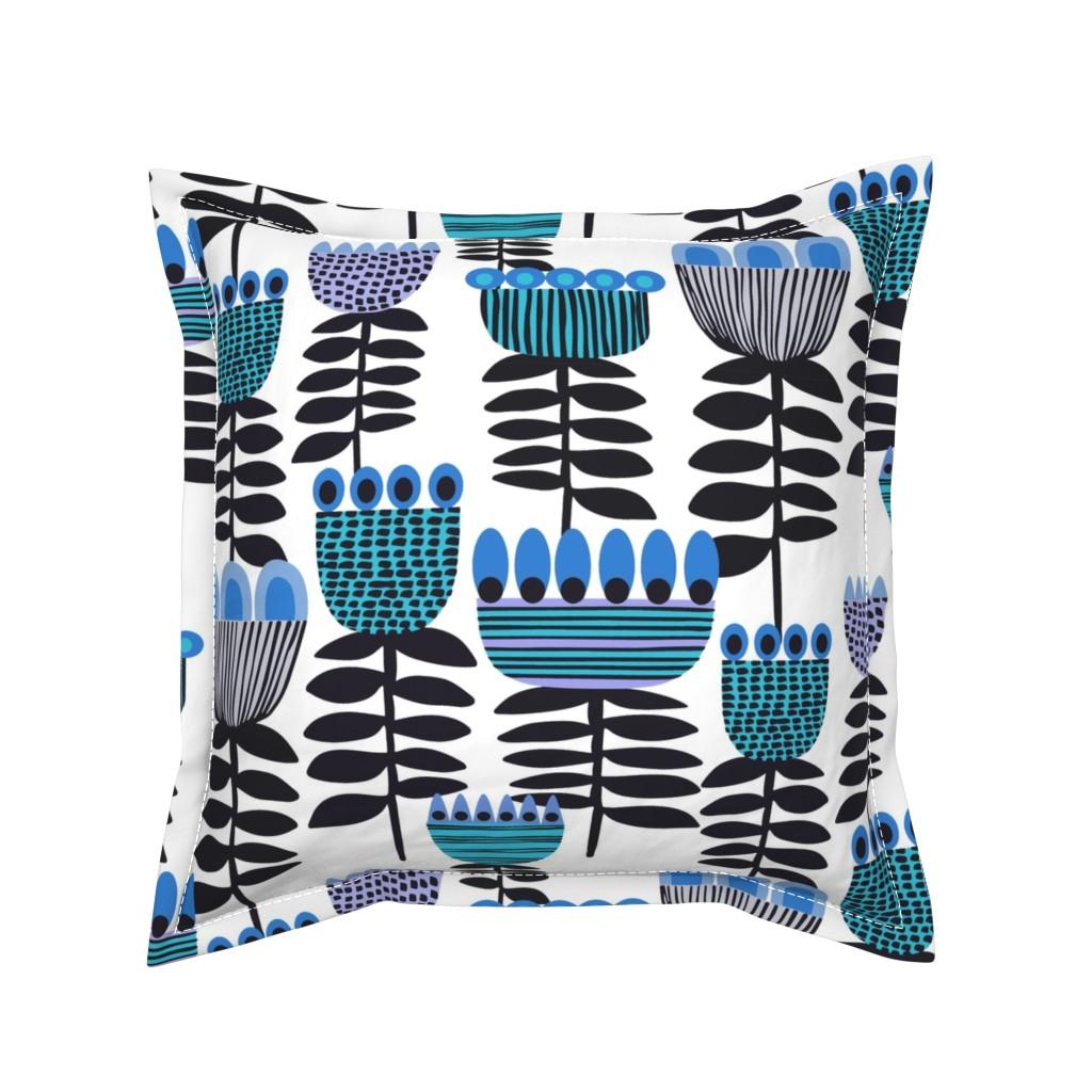 Serama Throw Pillow featuring Blue Mid Century Tulips by kirstenkatz