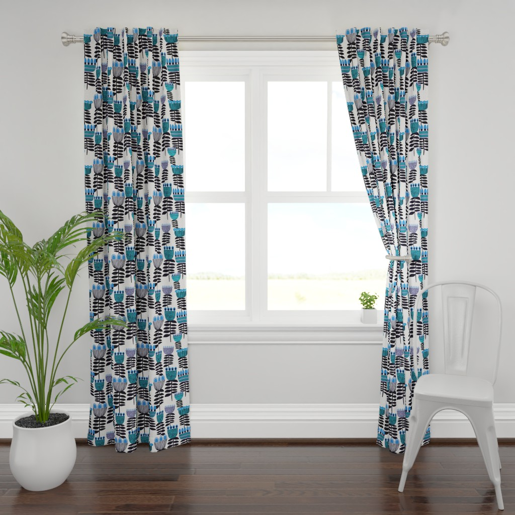 Plymouth Curtain Panel featuring Blue Mid Century Tulips by kirstenkatz