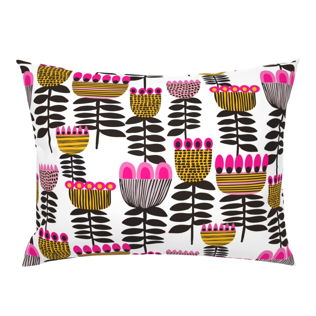 Campine Pillow Sham featuring Pink Mid Century Tulips by kirstenkatz