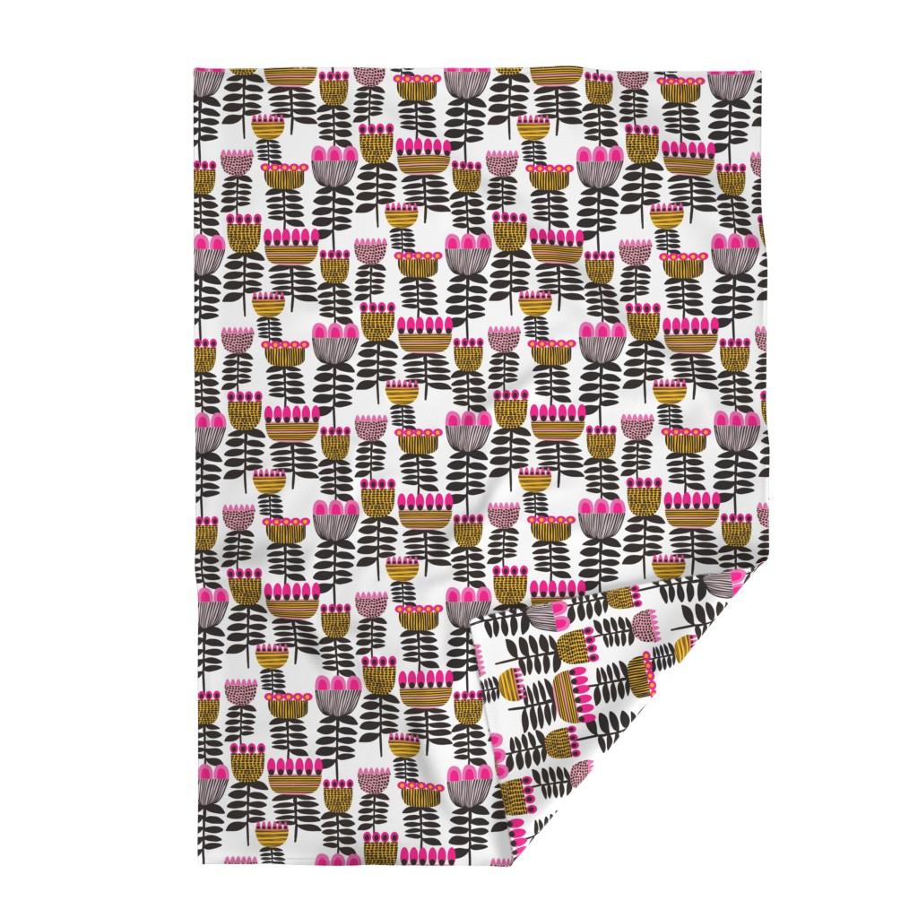 Lakenvelder Throw Blanket featuring Pink Mid Century Tulips by kirstenkatz
