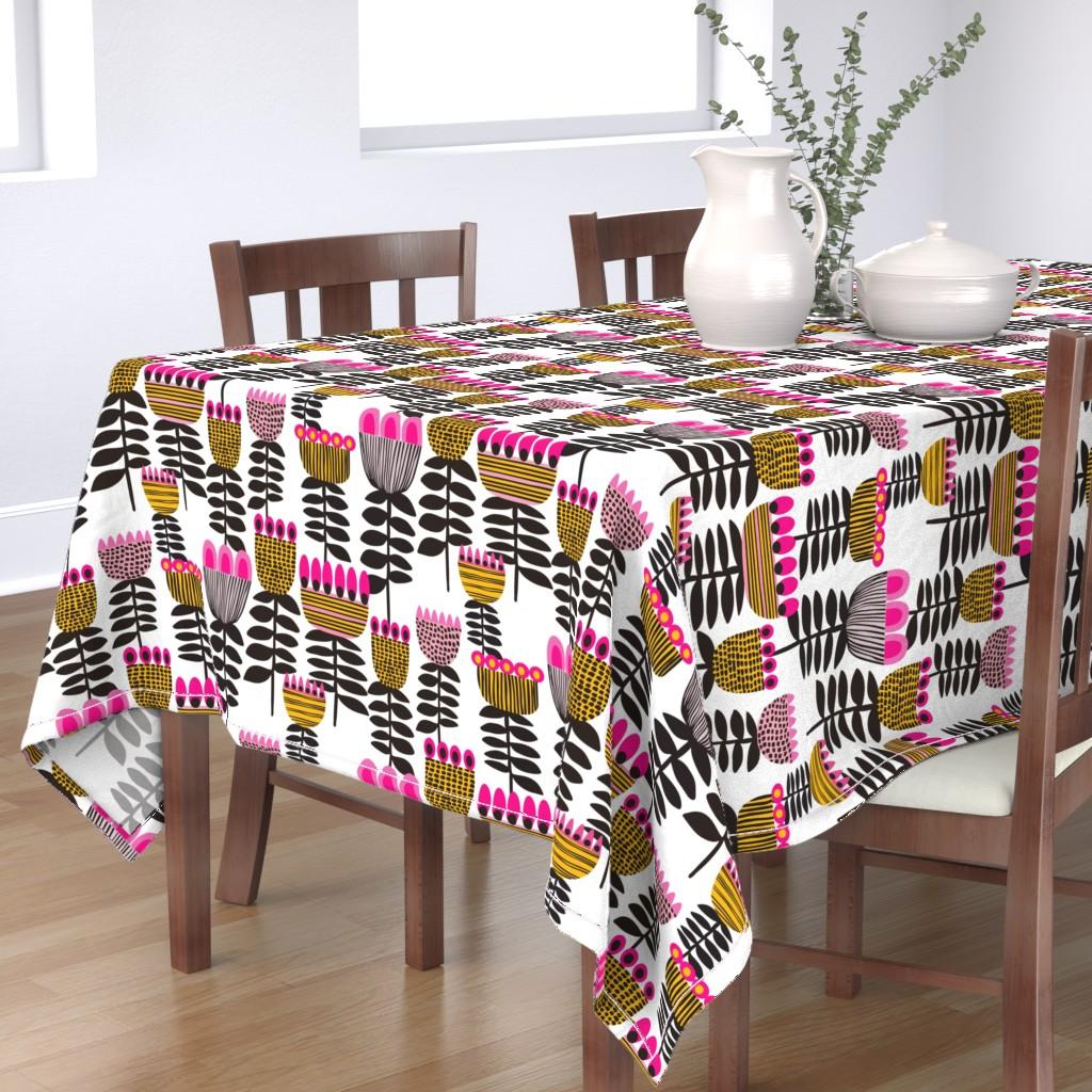 Bantam Rectangular Tablecloth featuring Pink Mid Century Tulips by kirstenkatz
