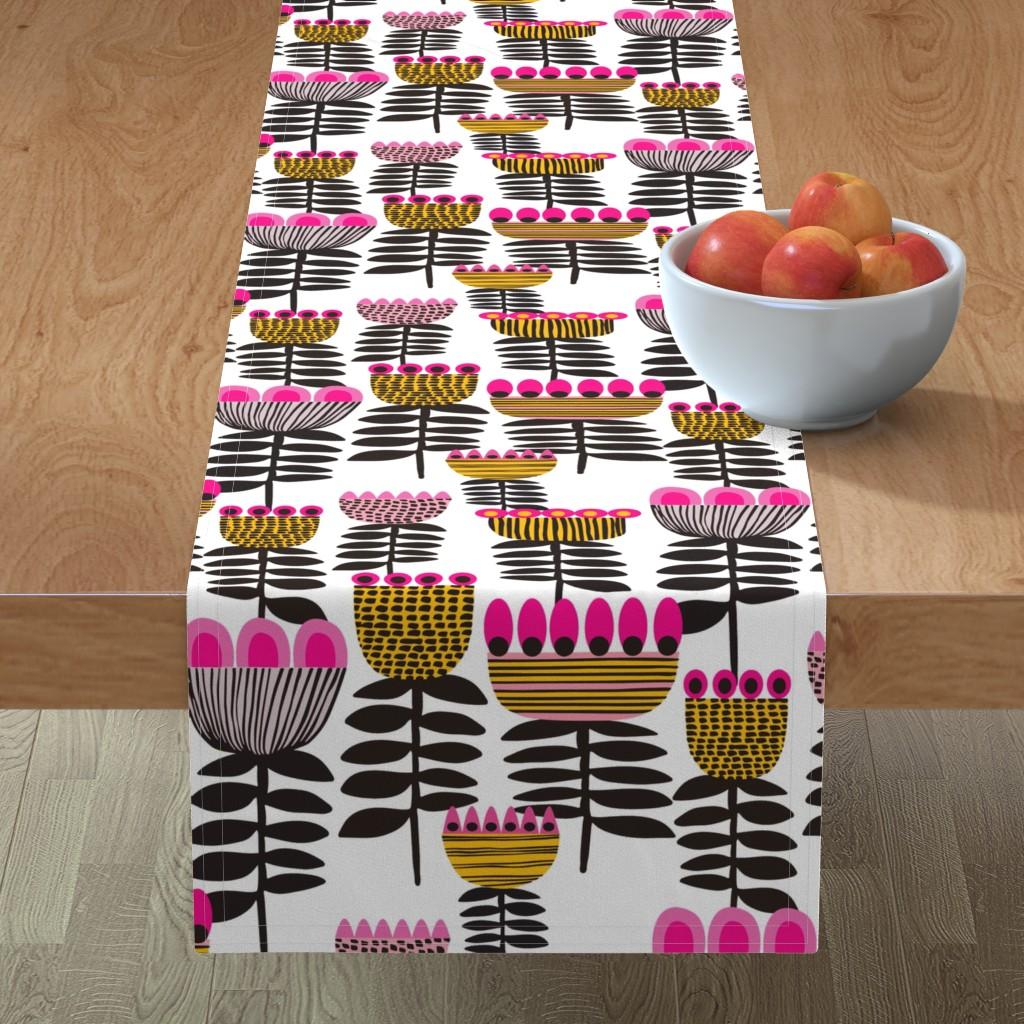 Minorca Table Runner featuring Pink Mid Century Tulips by kirstenkatz