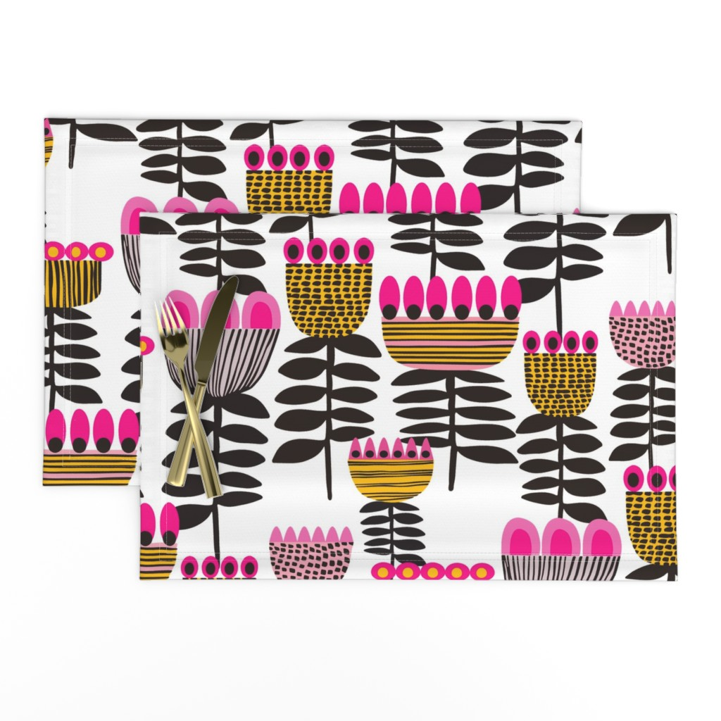 Lamona Cloth Placemats featuring Pink Mid Century Tulips by kirstenkatz
