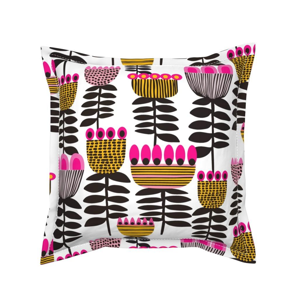 Serama Throw Pillow featuring Pink Mid Century Tulips by kirstenkatz
