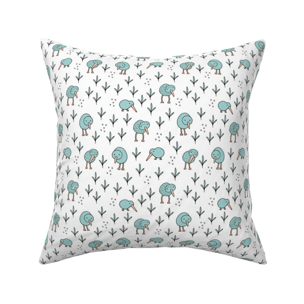 Catalan Throw Pillow featuring Cool kiwi birds quirky animals from New Zealand mint by littlesmilemakers