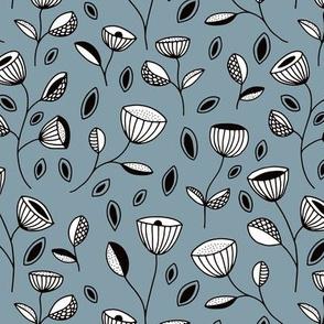 Winter fall flowers and leaf design Scandinavian style botanical garden ice blue