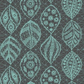 Lace Leaves - Turquoise, Grey