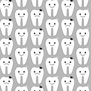 Sweet Tooth Sad Tooth / Healthy Tooth Happy Tooth - Grey