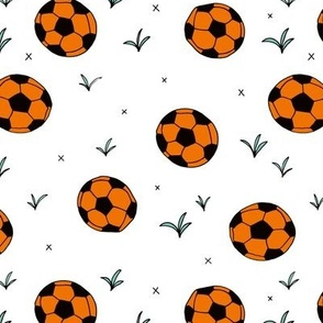 Soccer ball fun sports illustration design grass orange