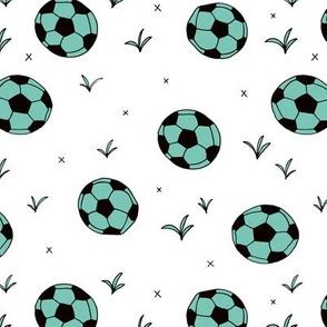 Soccer ball fun sports illustration design grass mint