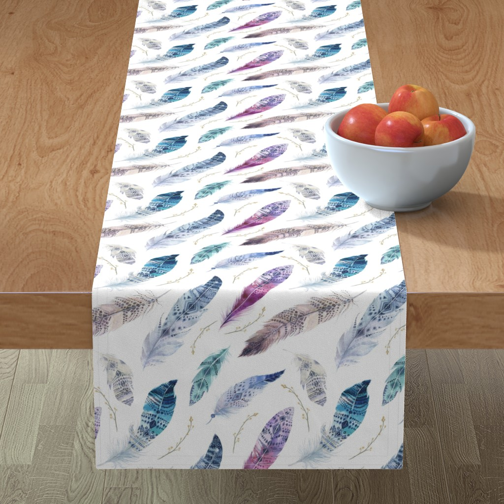 Minorca Table Runner featuring  Seamless pattern with bright boho watercolor feathers.  by peace_shop