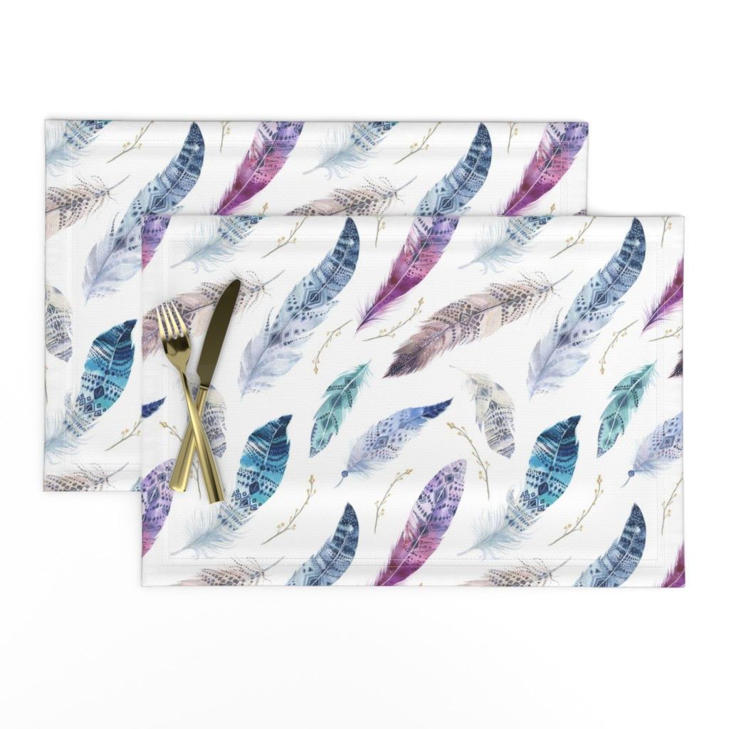Lamona Cloth Placemats featuring  Seamless pattern with bright boho watercolor feathers.  by peace_shop