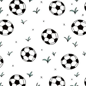 Soccer ball fun sports illustration design grass boys white