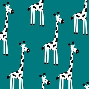 Adorable baby giraffe safari animals for kids winter gender neutral teal