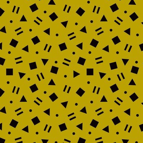 Cool geometric retro confetti memphis style abstract triangles and shapes gender neutral yellow