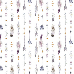 Seamless pattern with bright boho watercolor feathers and arrows