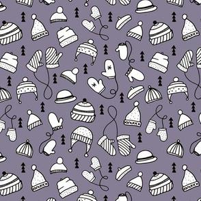 Ice cold winter season mittens and hats geometric kids illustration pattern design girls purple