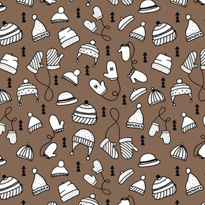 Ice cold winter season mittens and hats geometric kids illustration pattern design brown
