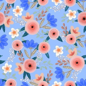 Blush pink roses and blue flowers on french blue