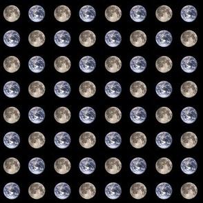 "mini (.75"") earth and moon polkadot"