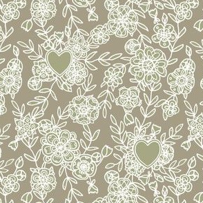 Floral lace and hearts on linen gray