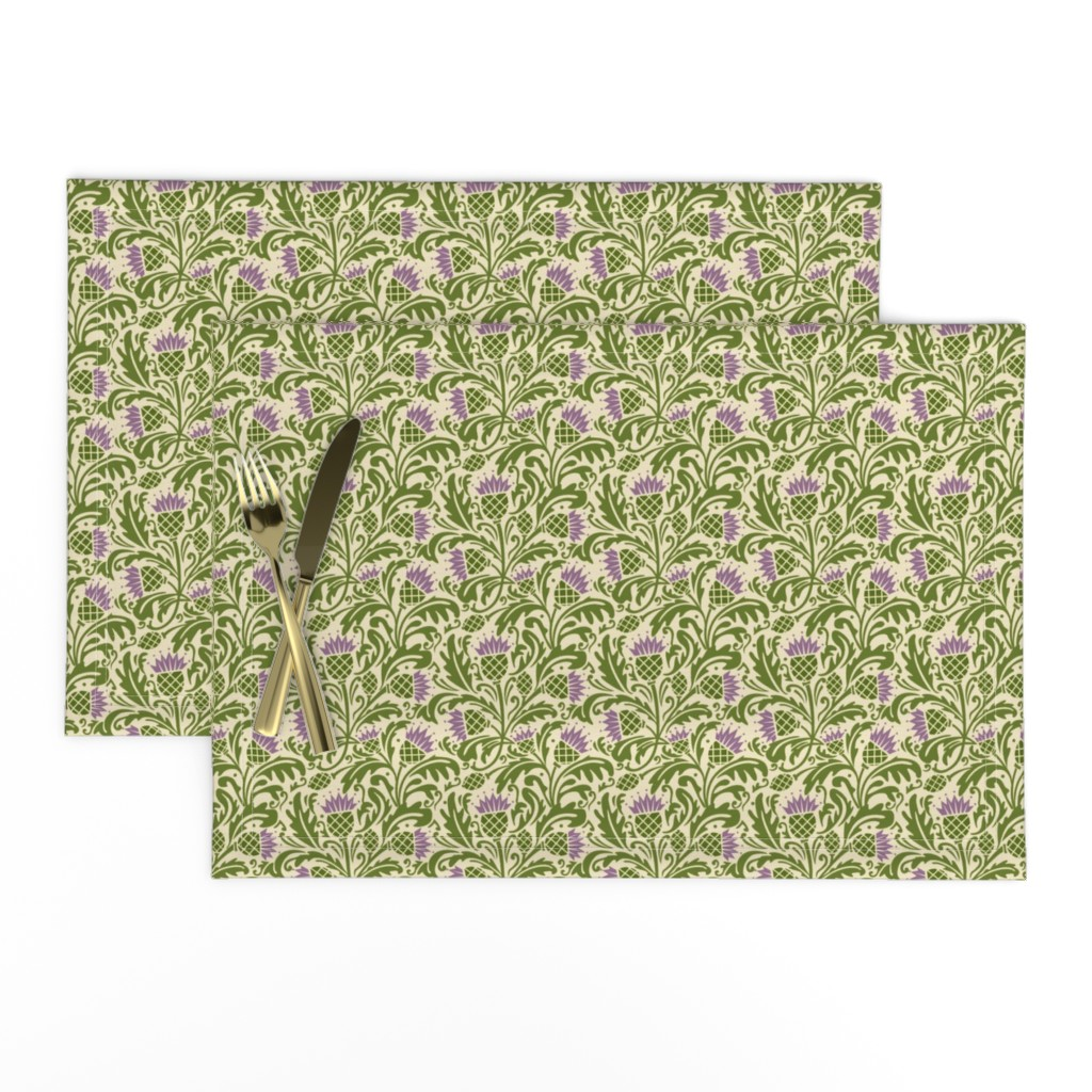 Lamona Cloth Placemats featuring Thistle, dark green by cindylindgren