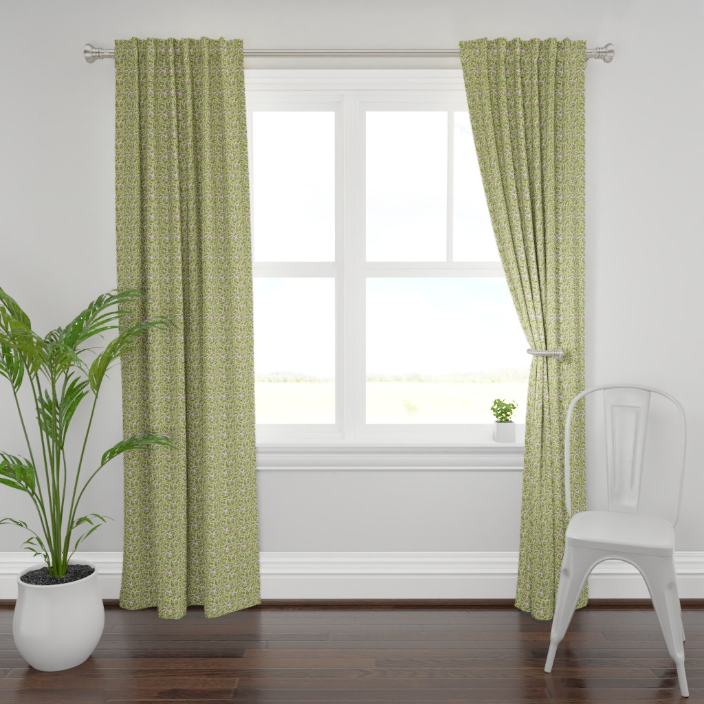 Plymouth Curtain Panel featuring Thistle, dark green by cindylindgren
