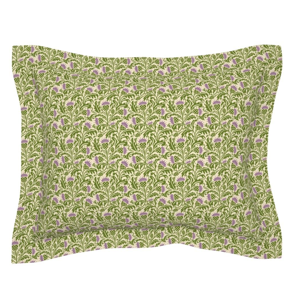 Sebright Pillow Sham featuring Thistle, dark green by cindylindgren