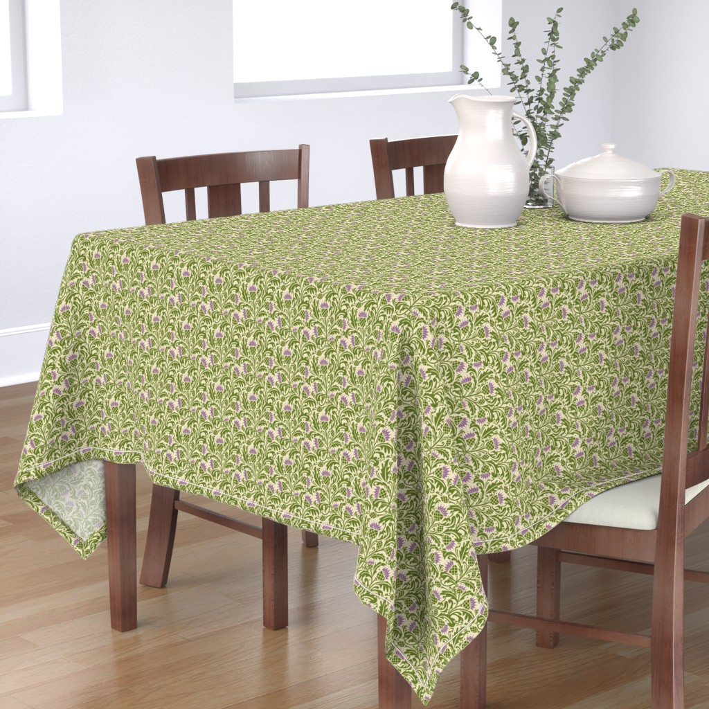 Bantam Rectangular Tablecloth featuring Thistle, dark green by cindylindgren