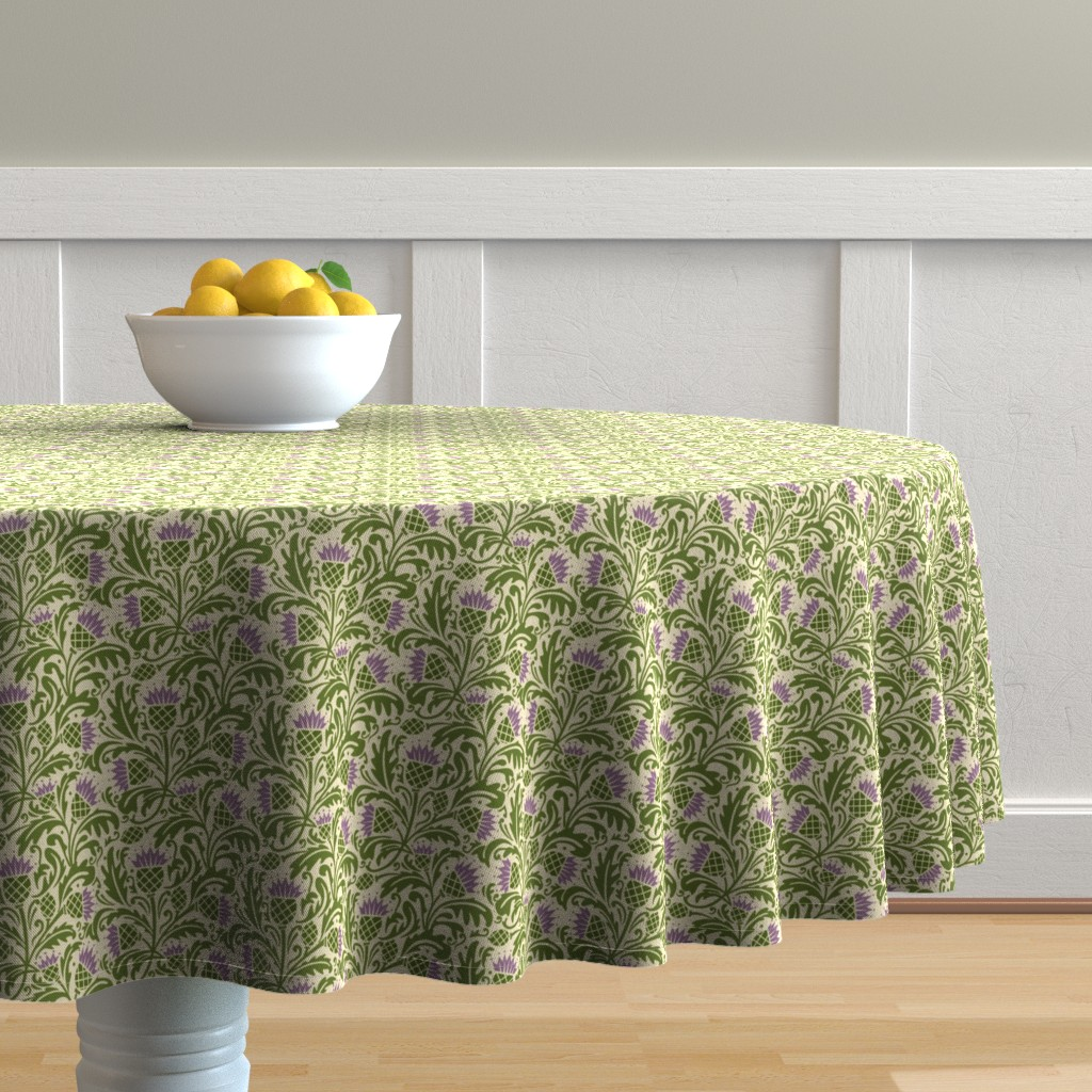 Malay Round Tablecloth featuring Thistle, dark green by cindylindgren