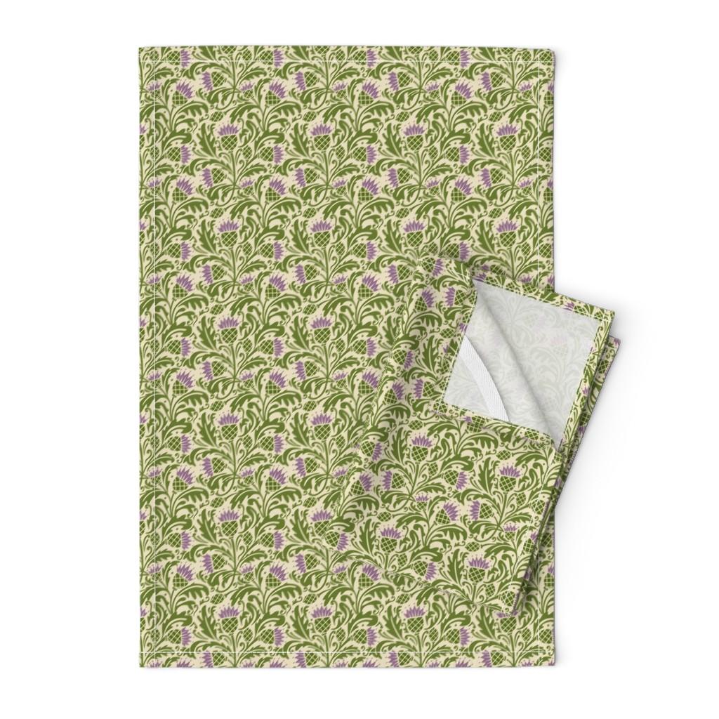 Orpington Tea Towels featuring Thistle, dark green by cindylindgren