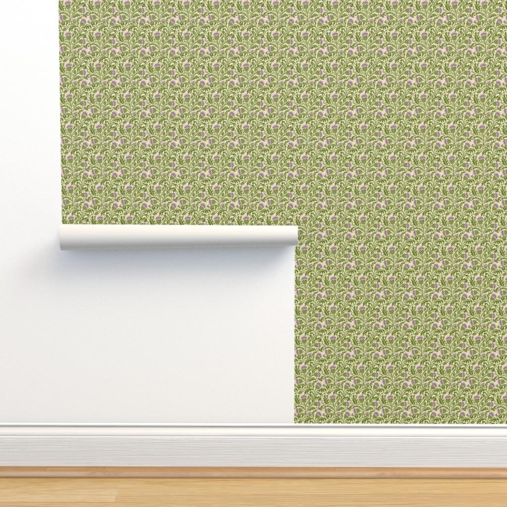 Isobar Durable Wallpaper featuring Thistle, dark green by cindylindgren