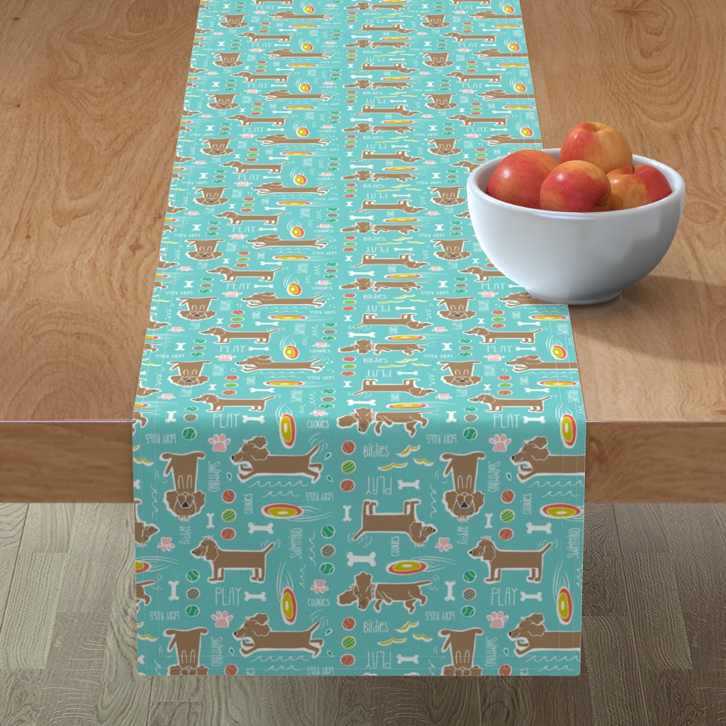 Minorca Table Runner featuring Dog Days - Pets Animals Aqua Blue by heatherdutton