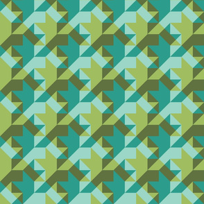 quilter's houndstooth - oolong and teal