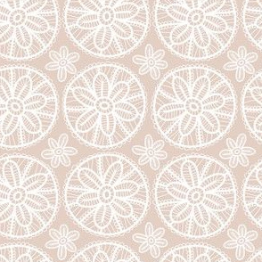 Lace pattern with white flowers on beige background