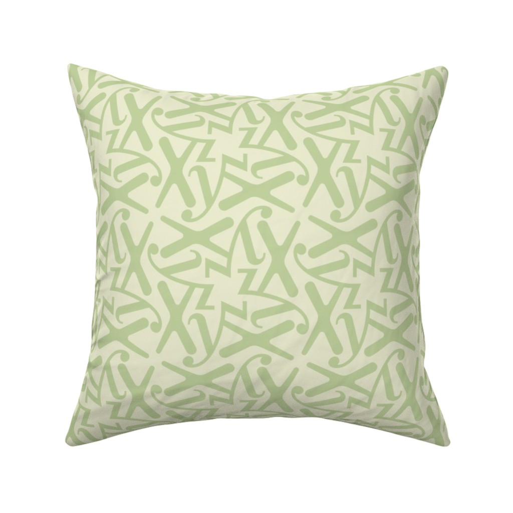 Catalan Throw Pillow featuring Letters - x  y z - green pastel by zuzana_licko