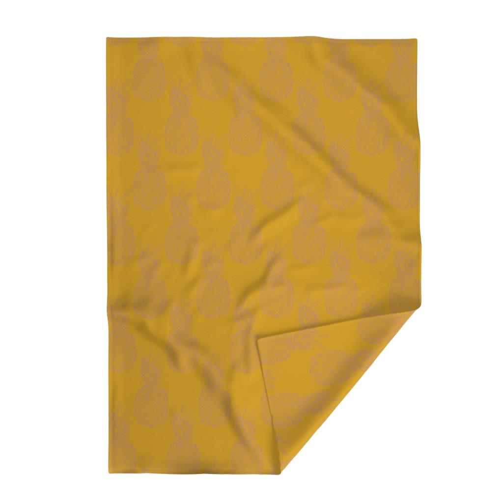 Lakenvelder Throw Blanket featuring pineapple purple on mustard by claudiamaher