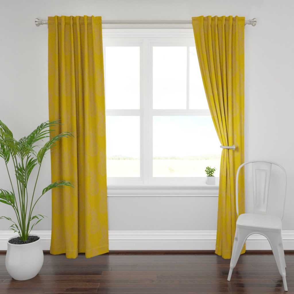 Plymouth Curtain Panel featuring pineapple purple on mustard by claudiamaher
