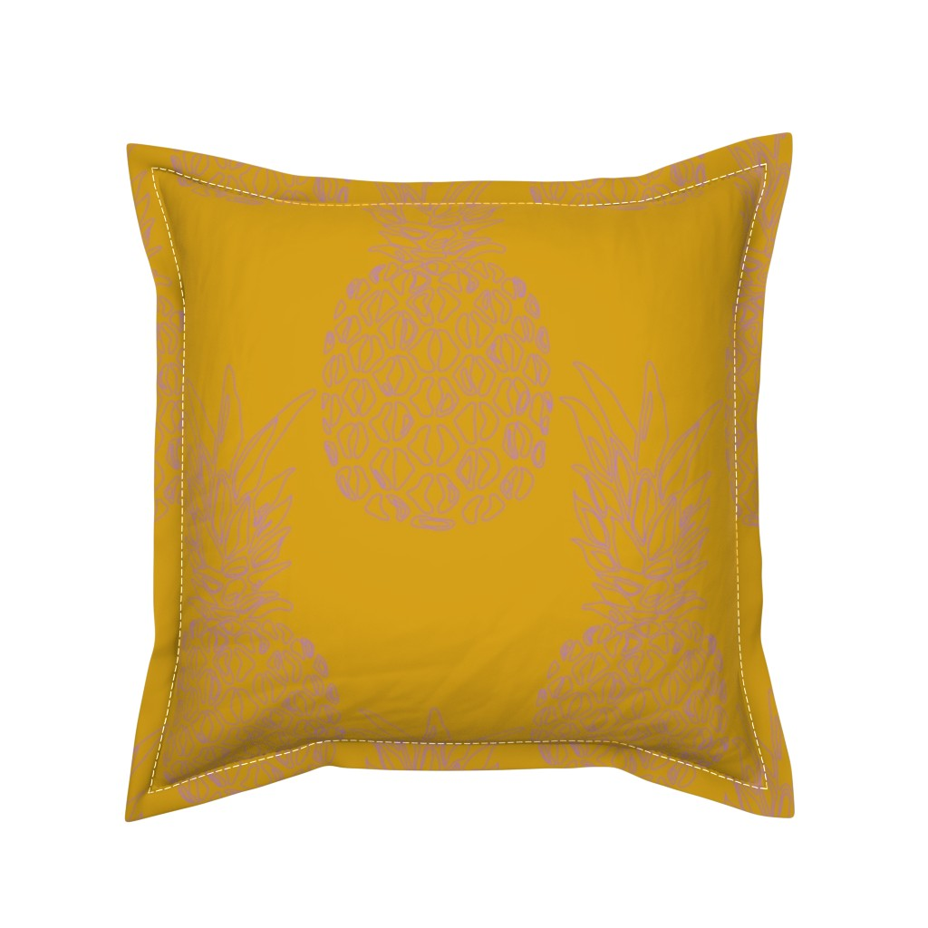 Serama Throw Pillow featuring pineapple purple on mustard by claudiamaher