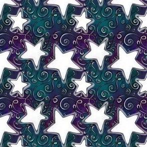 White Stars on Dark Violet Forest Green Sky