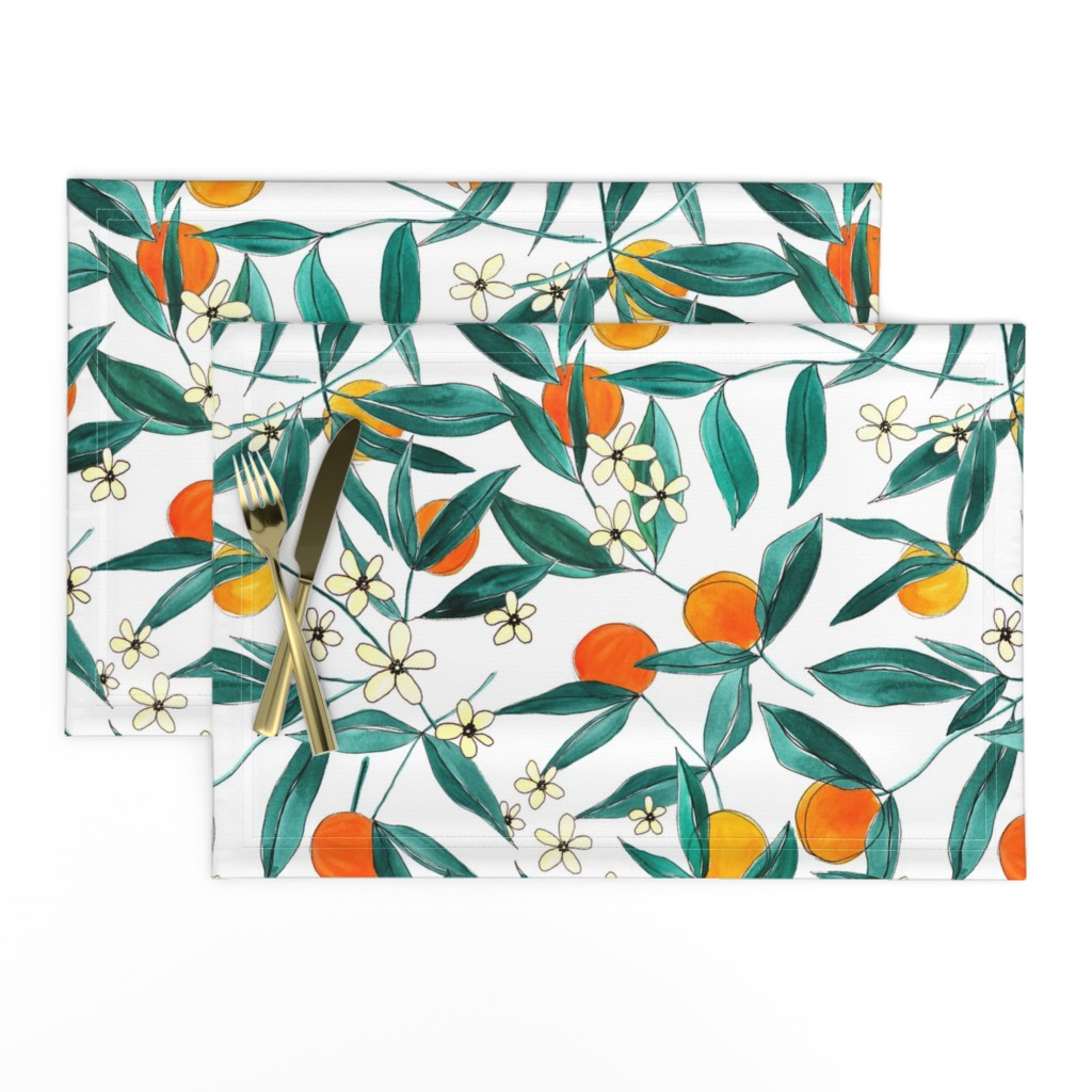 Lamona Cloth Placemats featuring Orange Summer by joy&ink