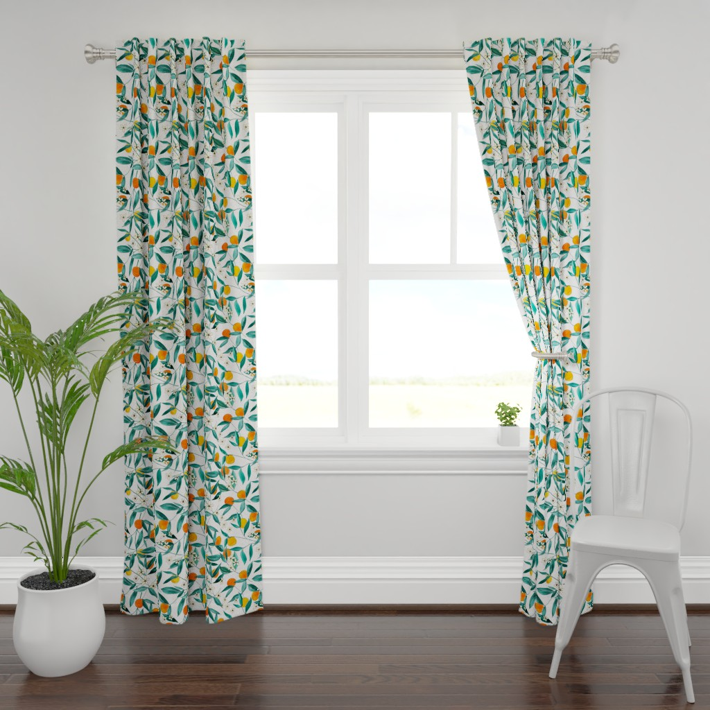 Plymouth Curtain Panel featuring Orange Summer by joy&ink