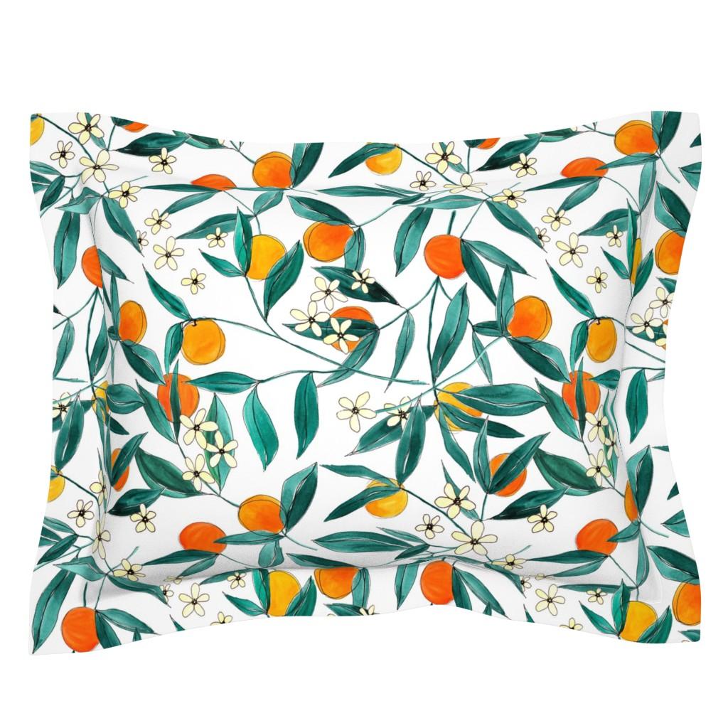 Sebright Pillow Sham featuring Orange Summer by joy&ink