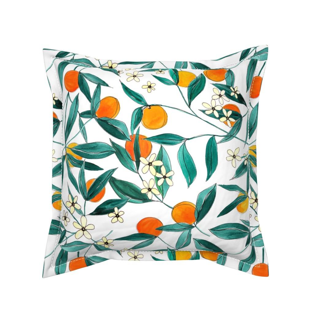 Serama Throw Pillow featuring Orange Summer by joy&ink