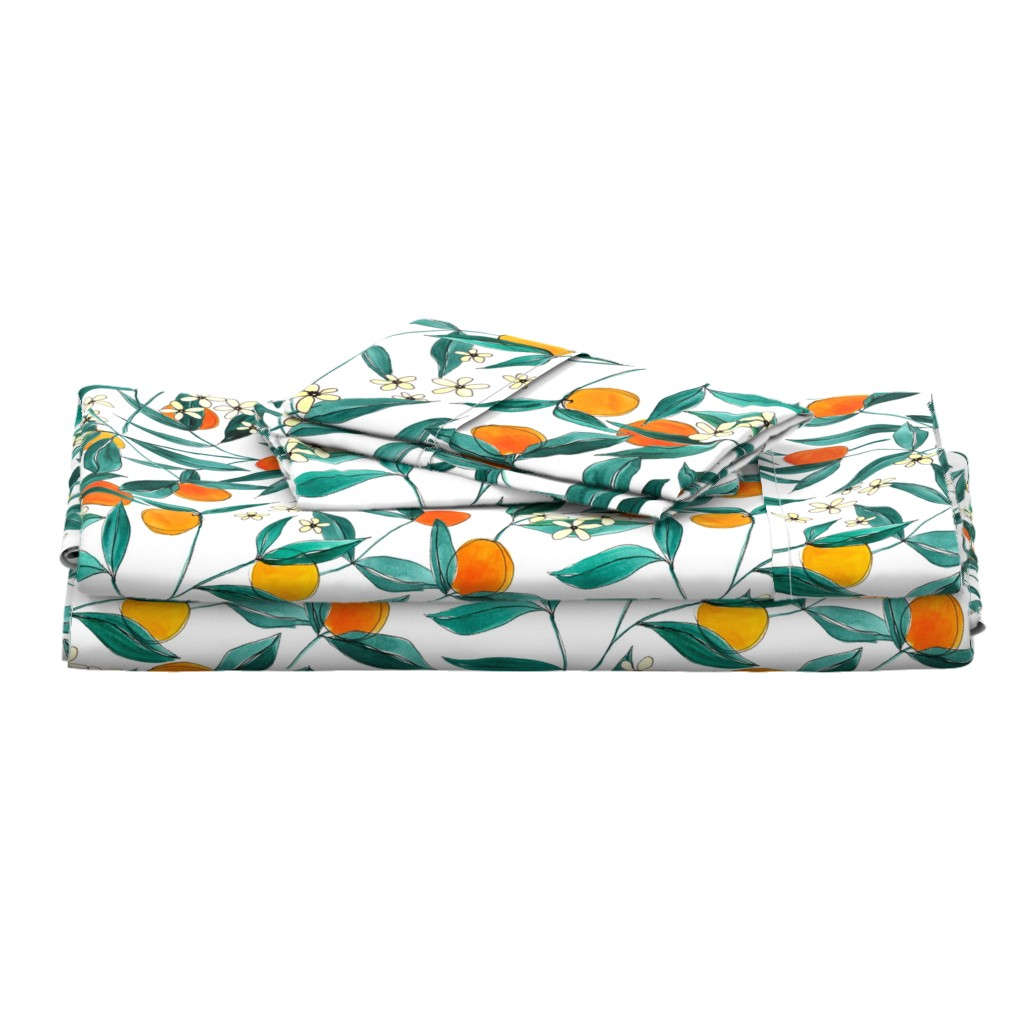Langshan Full Bed Set featuring Orange Summer by joy&ink