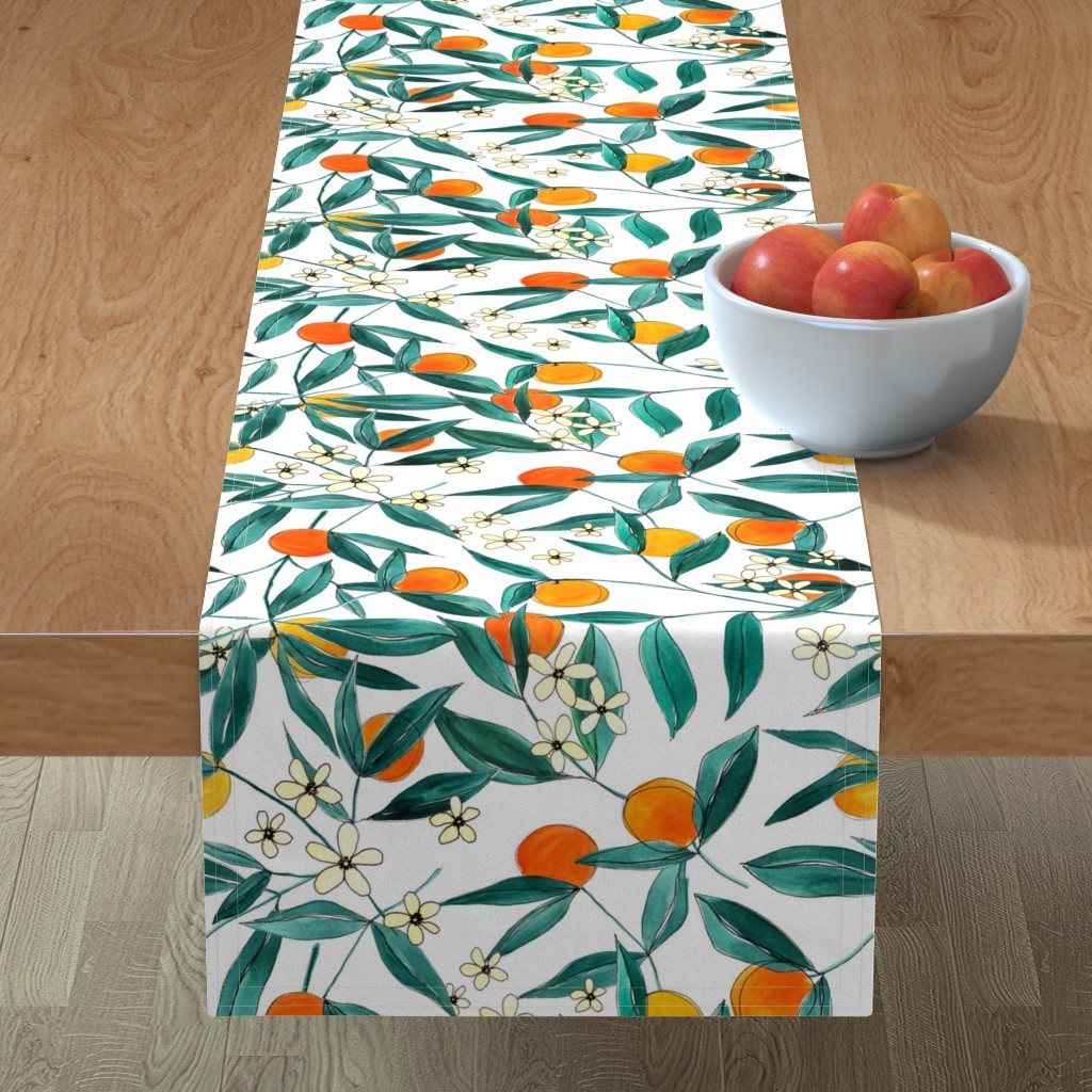 Minorca Table Runner featuring Orange Summer by joy&ink