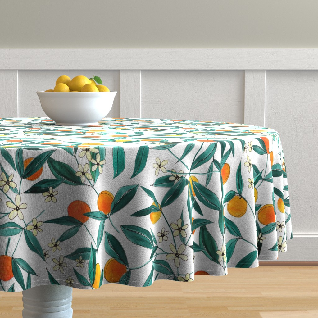 Malay Round Tablecloth featuring Orange Summer by joy&ink
